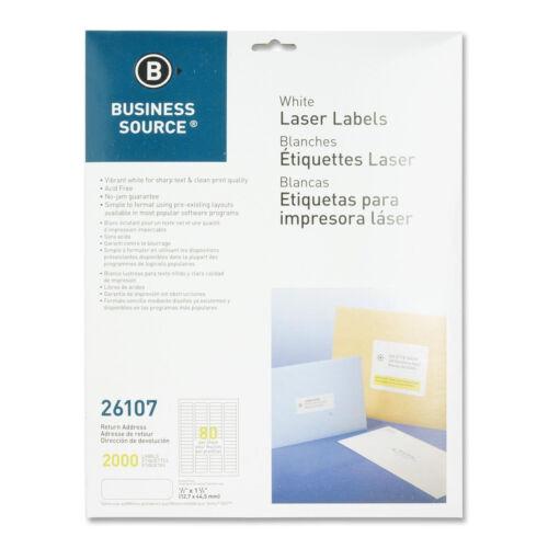 "Business Source Return Address Mailing Label  0.50/"" x 1.75/""  2000pk BSN 26107"