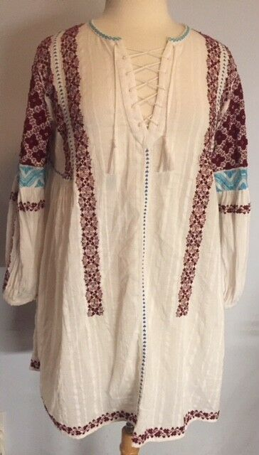 Ulla Johnson SZ 4 YELENA Embroidered Cotton Gauze White Dress Tunic Top