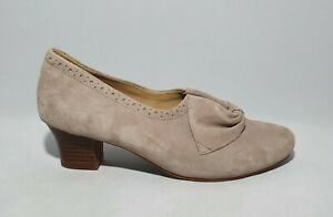 Hotter Womens Beige Suede Leather Court