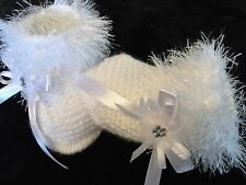 New White Baby Booties Unisex  Prem Tiny Baby Hand Knitted By Annie