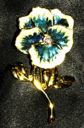 Vtg Pansy Brooch Enamel Flower Crystal Blue White… - image 1