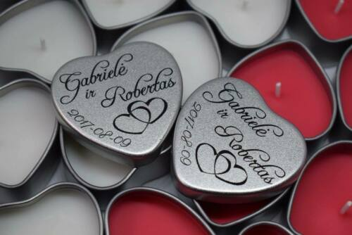 Wedding Gift Favours Personalised Party Heart Gift Tin With Candle wedding