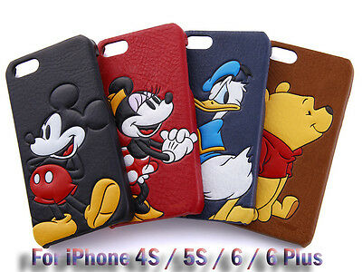 3D Disney Pop-Up PU Leather Skin Hard PC Back Case For iPhone SE/5S/6/6S Plus