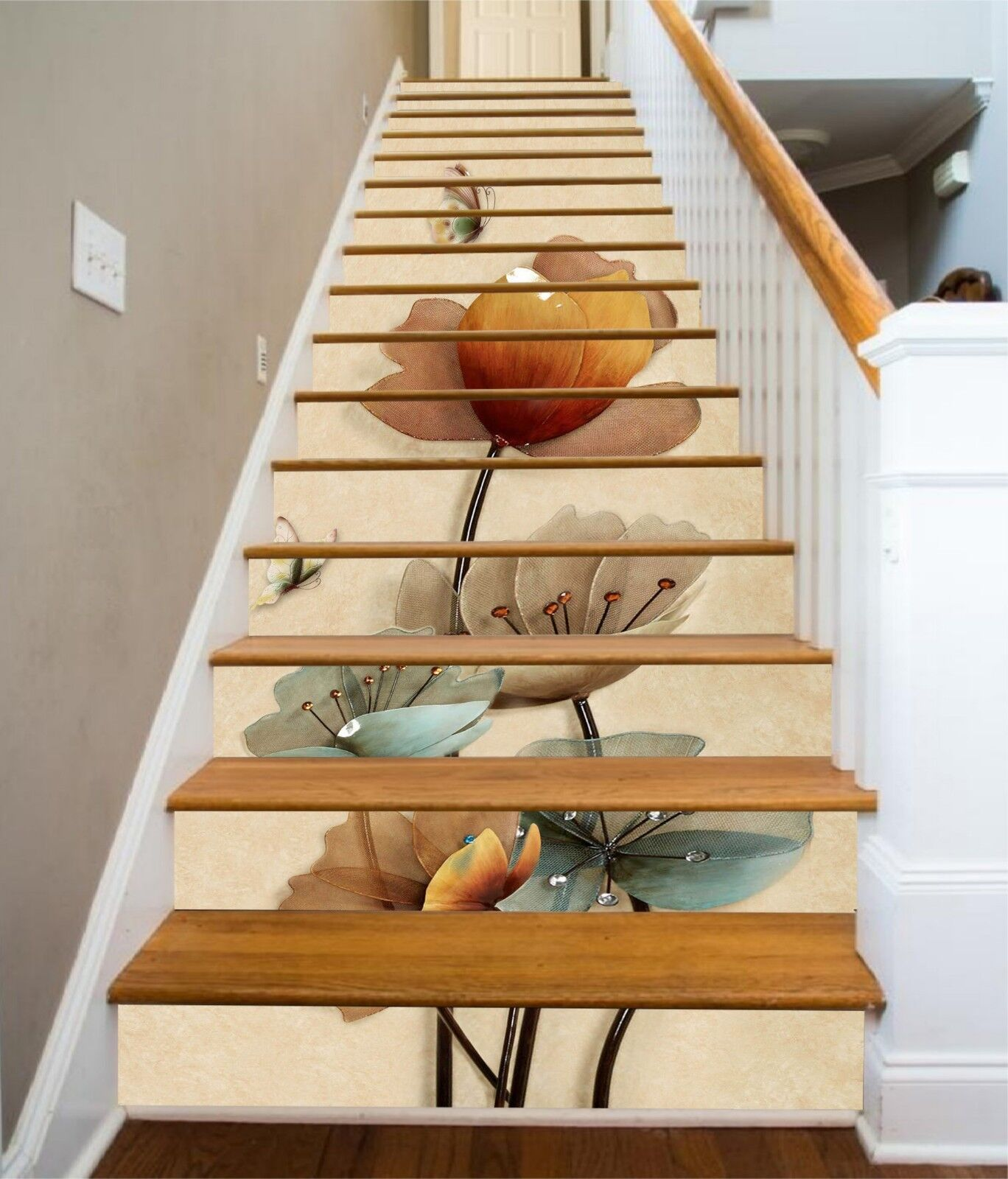3D Kunstwerk bluemen Stair Risers Dekoration Fototapete Vinyl Aufkleber Tapete DE