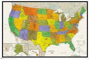 WALL MAP OF THE USA Detailed American Geography Poster for ...