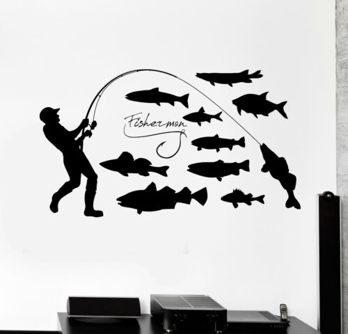 Vinyl Wall Decal Fisherman Fishing Hobby Fishes Stickers Mural ig4393