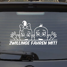 Auto Aufkleber ZWILLINGE FAHREN MIT! an Bord on Tour Car PKW LUSTIG Sticker 1123