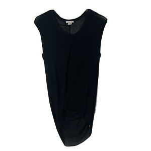 Helmut Lang Women's P Small Black Sleeveless Sheer Ruched Long Tank Top