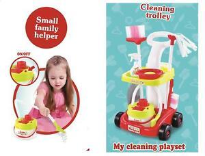 Kids Cleaning Trolley Mop Broom Brush Pretend Play Set