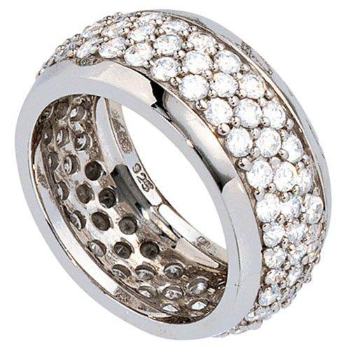 Anillo de ancho anillo de mujer con circonita integral 925 plata anillo de plata