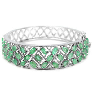 NATURAL-AAA-GREEN-EMERALD-COLUMBIAN-OVAL-STERLING-925-SILVER-BANGLE-SIZE-6-5