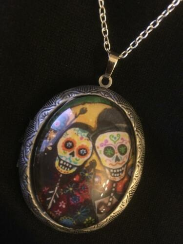 Day of the Dead LOCKET Skull Necklace Wicca Gothic Retro Photo Steampunk SL
