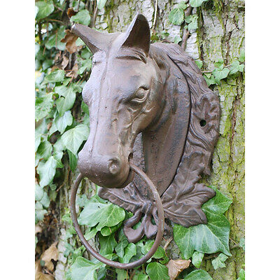 Wall Mounted Animal Heads Horse / Bull Cow Ring & Bell Cast Iron garden Ornament