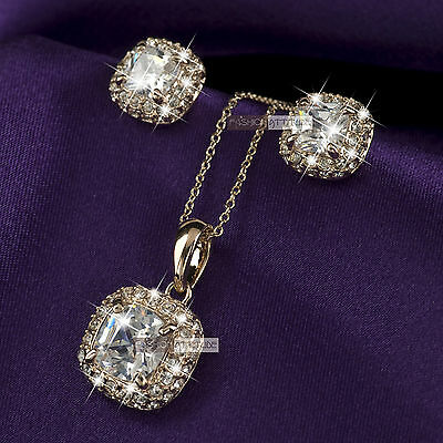 18k rose gold gf made with SWAROVSKI crystal stud earrings necklace set