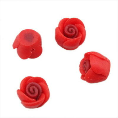 30pcs 110623 Wholesale Charms Red Rose Flowers FIMO Polymer Clay Beads 12mm