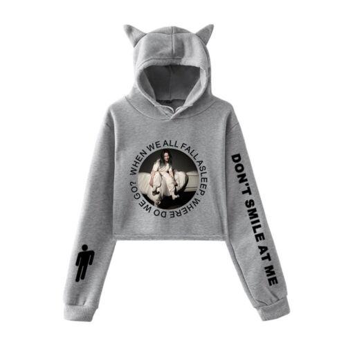 NEW Billie Eilish Inspired Hoodied T Shirt Ocean Eyes Fans Crop Tops Sweatshirt