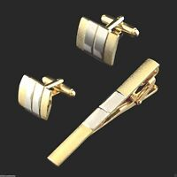 2 Tone Mens Silver & Gold Plated ( Tie Pin & CuffLinks Set ) Necktie Clip Bar