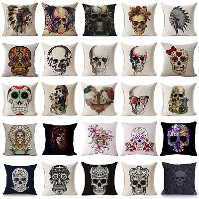 Home Decor Cotton Linen Skull Pattern Pillow Case Punk Style Sofa Cushion Cover