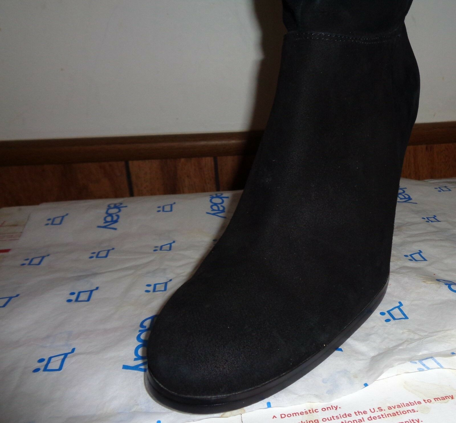 Jacqueline Ferrar Over The Knee Tall Boots Black Suede Suede Suede Leather Heels Size 11M b50911