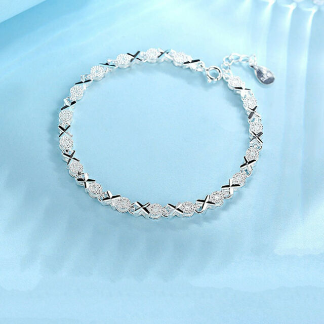 Solid Silver Bracelet 925 Women Roman Chain Crystal Bangle Wedding Jewelry Gifts