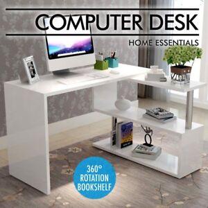 Artiss-Office-Computer-Desk-Corner-Table-w-Bookshelf-Study-Student-White-Home-A
