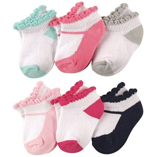 LUVABLE FRIENDS BABY 6-PACK NO SHOW ANKLE SOCKS 0-6 6-12 12-24  MARY JANES
