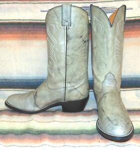 Mens Vintage Marbled Gray Leather Cowboy Boots 10 1 2 B