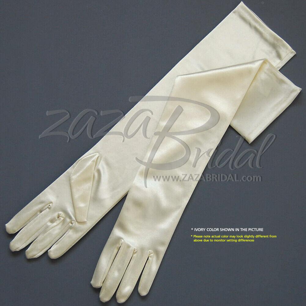 """19.5/"""" Long Stretch Velvet Gloves Slip-On 12BL Various Colors"""