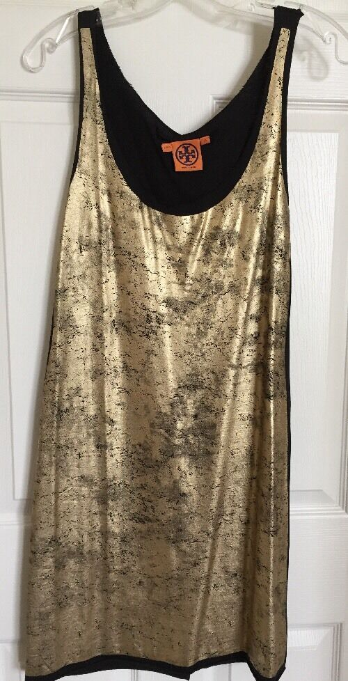 TORY BURCH schwarz Cotton Jersey Gold Metallic Painted Scoop Neck Dress sz XS