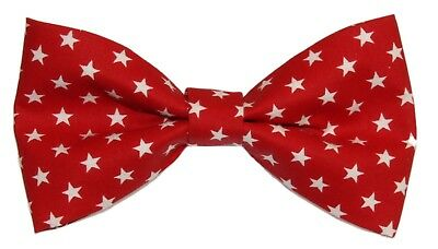 Choose Men/'s or Boys Bowtie New Red White Striped Clip-On Cotton Bow Tie