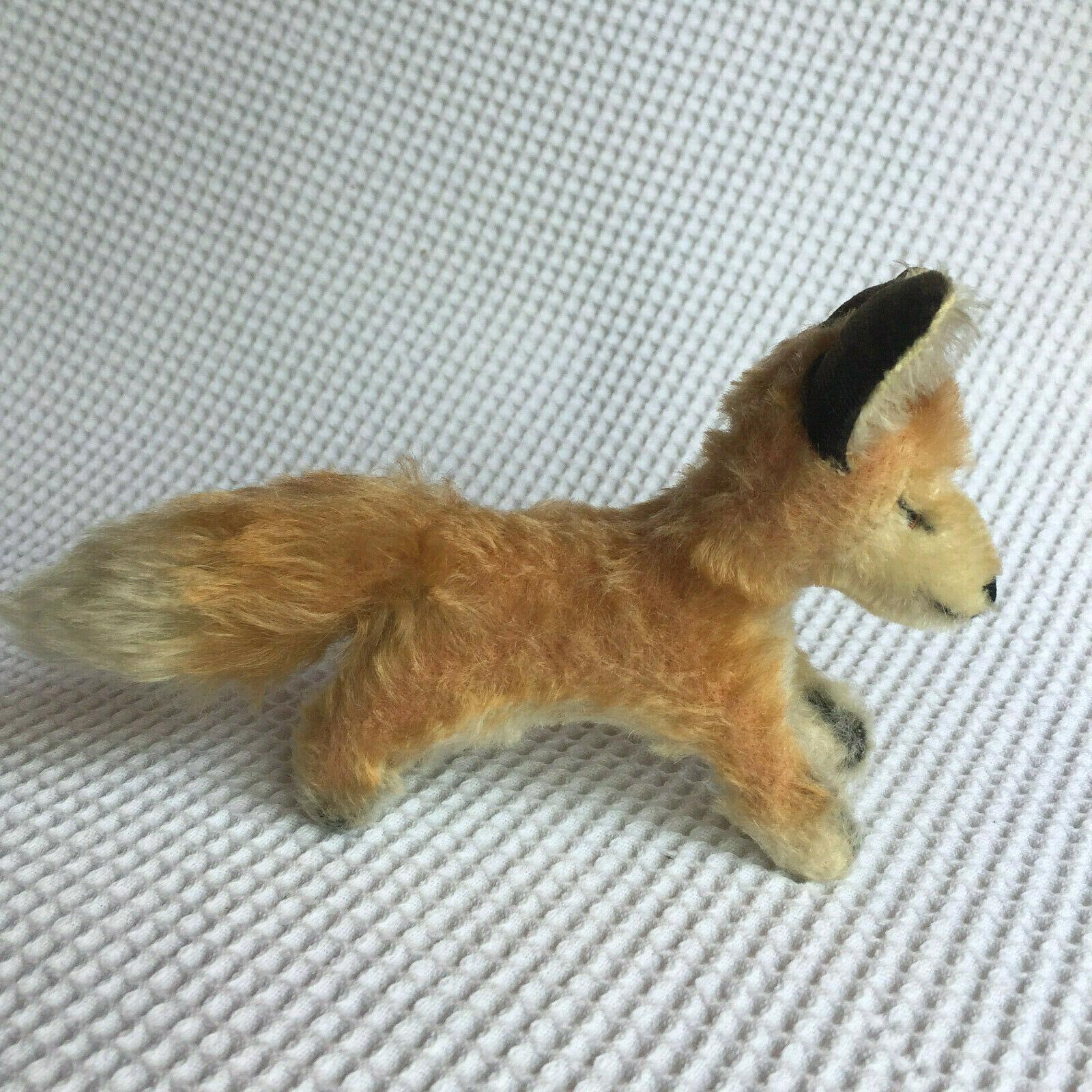 VINTAGE  STEIFF DESERT FOX XORRY MOHAIR HARD STUFFED TOY 1950s BUTTON 10cm HIGH