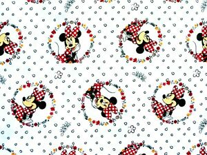 DISNEY-MINNIE-MOUSE-BADGE-COTTON-FABRIC-SPRINGS-CREATIVE-QUILTING-BY-THE-YARD
