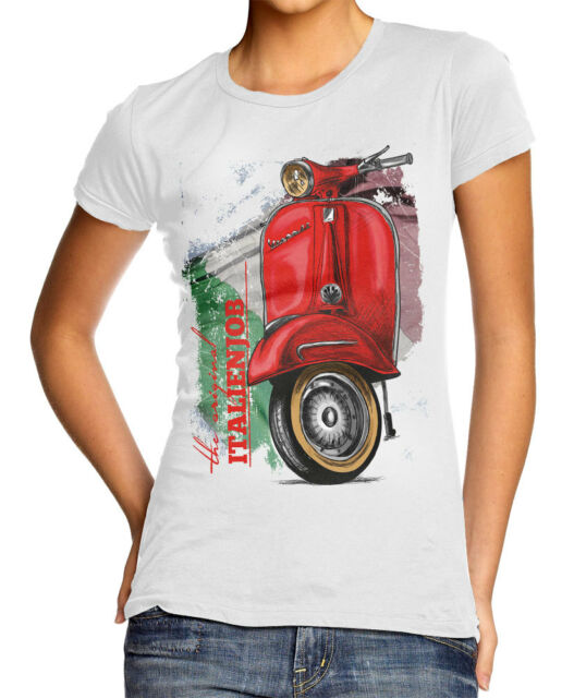 Vespa Piaggio Roller Oldschool T-Shirt - Damen Gr. S - weiß