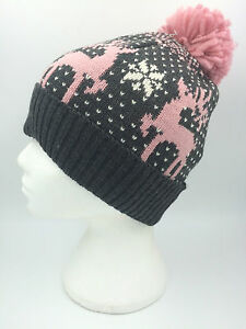 998d7b1eb7b Image is loading GIRLS-GREY-PINK-CREAM-REINDEER-SNOWFLAKE-BEANIE-BOBBLE-