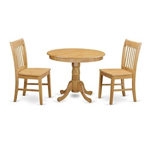 ANNO3-OAK-W 3 Piece Dining table set small kitchen table and 2 dining chair
