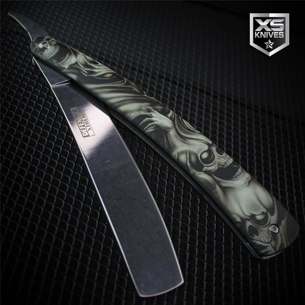 Grey DEMON SKULLS Metal Barber STRAIGHT RAZOR Cut Throat Knife Shaving Rasoi