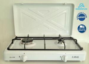 Fornello a gas da campeggio bianco GPL tre 3 fuochi bruciatori cucinino appoggio