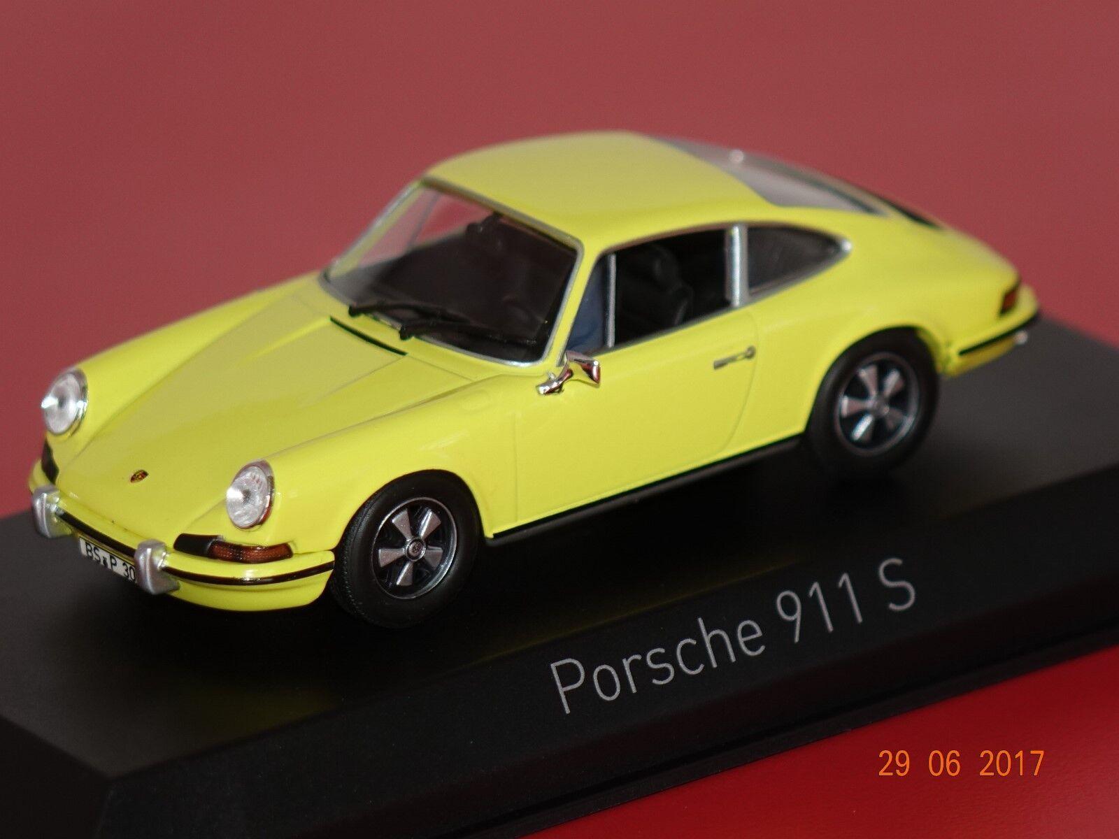 Porsche 911 S 2,4 1973 jaune 1 43 Norev 750056 NEUF + neuf dans sa boîte