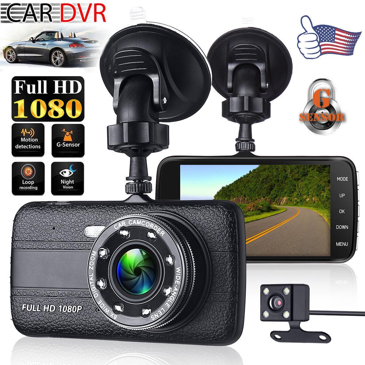 """s-l1600 4"""" Vehicle 1080P HD Car DVR Camera Video Recorder Dash Cam G-Sensor Dual Lens"""
