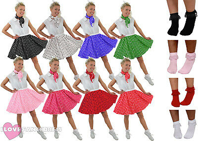 FANCY DRESS 50S ROCK/&ROLL SKIRT/&SCARF BROWN/&RED POLKADOT FITS 8-12 22 INCH