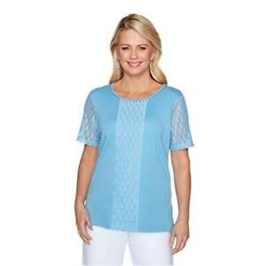 Alfred Dunner Women's Jewel Neckline Soft Knit Top with, Sky Blue, Size Small