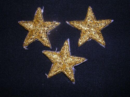 "VENISE LACE APPLIQUE STARS GOLD METALIC IRON ON MOTIFS BABY HAT G10 3//4/""  5-pcs"