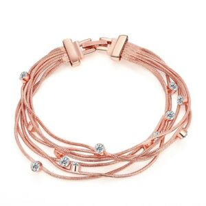 14K-Rose-Gold-Plated-Bracelet-Made-with-Swarovski-Crystals-Snap-Lock-Clasp