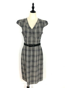 Cue Size 12 Grey Check Short Cap Sleeve Pencil Dress Belt Work Office Corporate