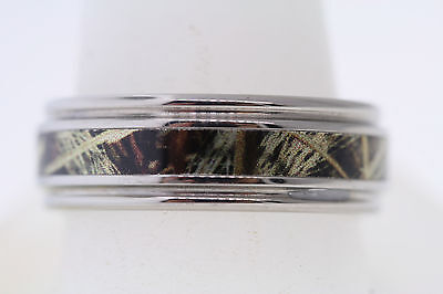 LZ Black Zirconium 8mm Realtree Camouflage Inlay Grooved Step Edge Band Ring