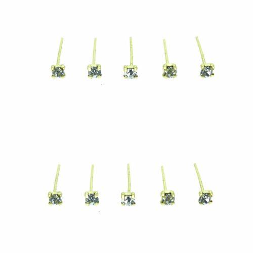 10x Oro Chapado En Plata 925 Recto Transparente Cuadrado Garra Set Cristal Nariz perno pernos