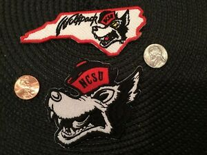2-NCSU-NORTH-CAROLINA-STATE-WOLFPACK-VINTAGE-EMBROIDERED-IRON-ON-PATCH-LOT