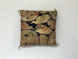 Japanese-Buddhist-Bell-Cushion-Vtg-Rinbuton-Flower-Dragon-Embroidery-R173