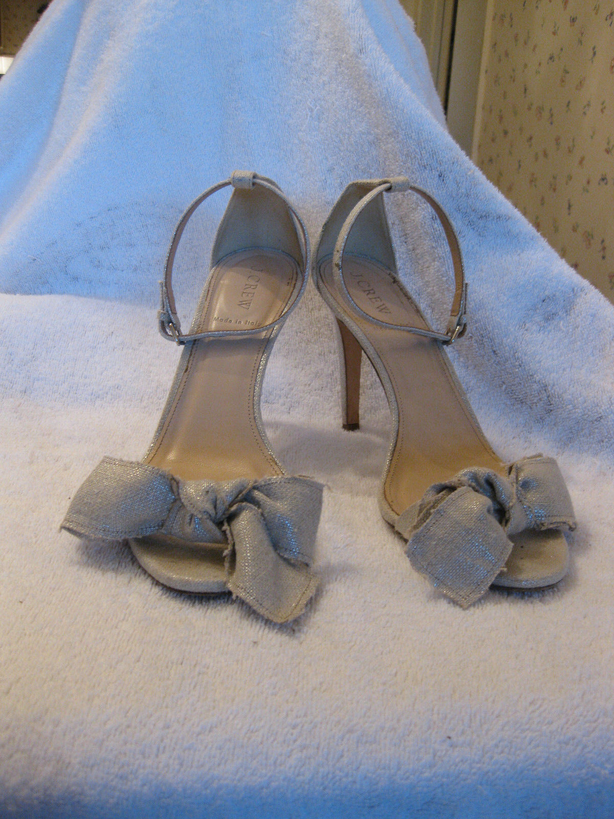J Crew 9 Leder and Metallic Linen Bow High Heel Sandales b7918 Sold Out 238