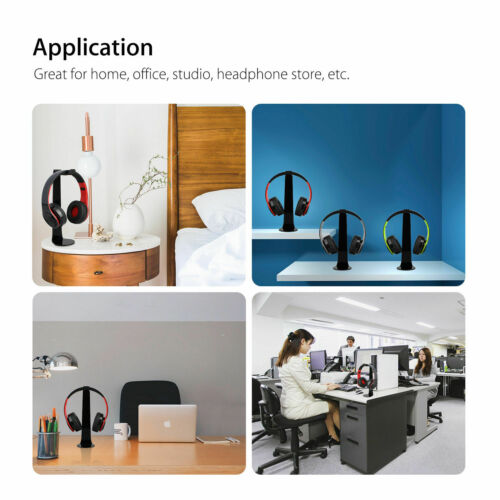 250mm Earphone Headset Hanger Headphone Stand Holder Desk Display Black